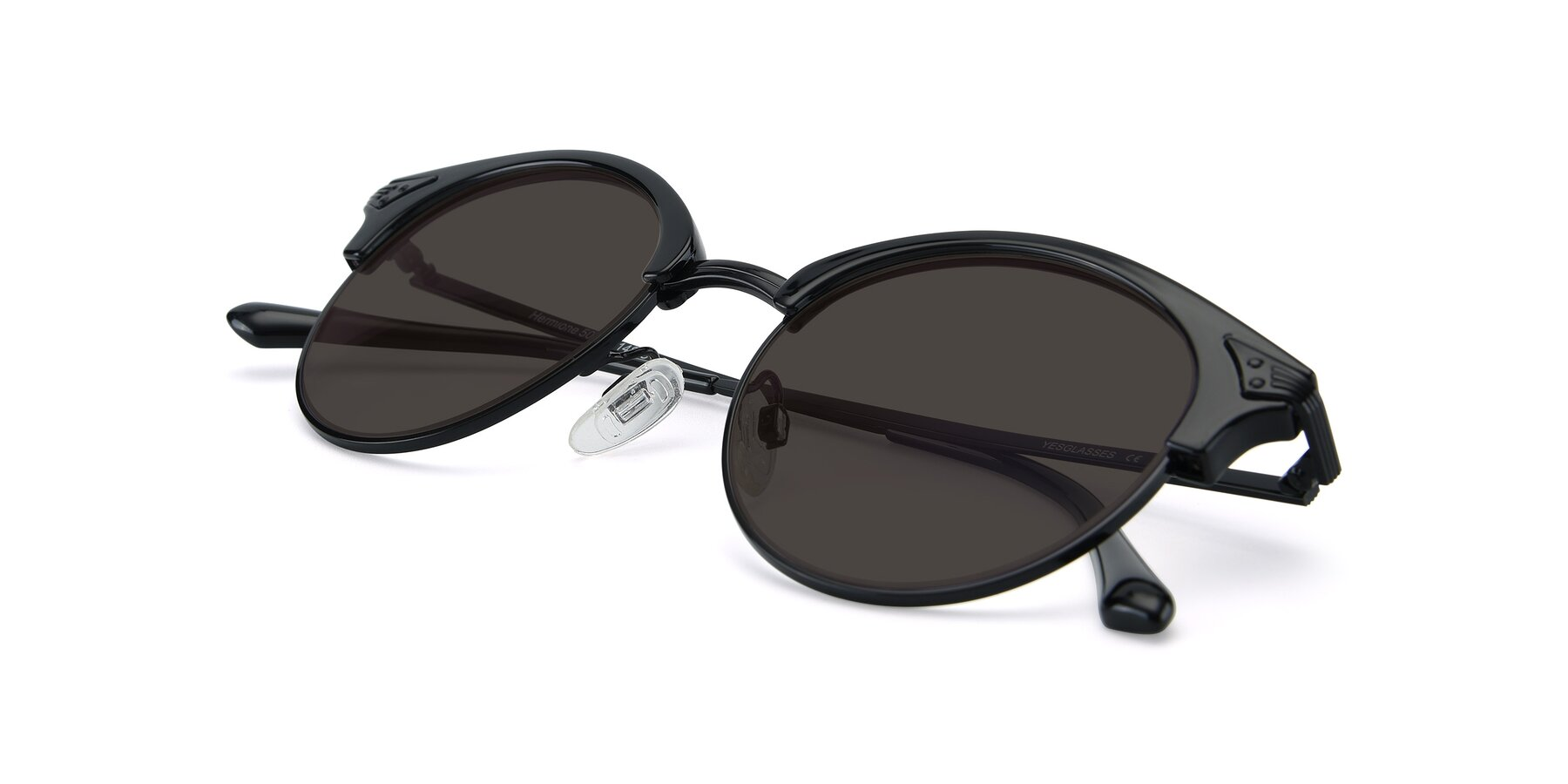 View of Hermione in Black with Gray Tinted Lenses