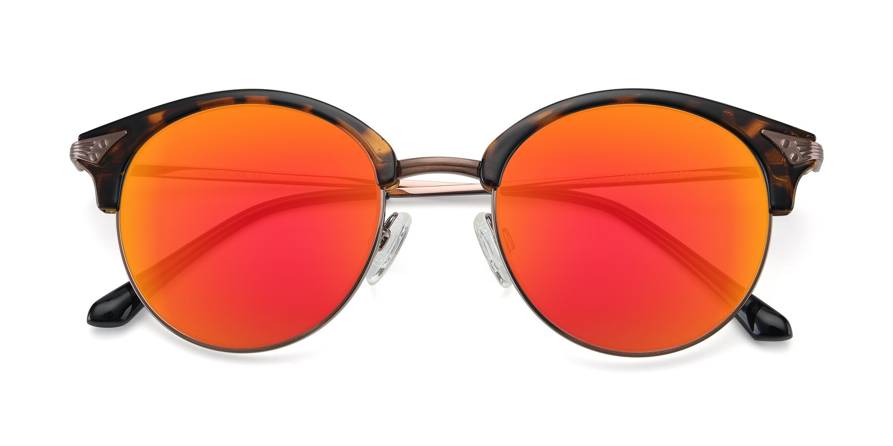 Folded Front of Hermione in Tortoise-Brown with Red Gold Mirrored Lenses