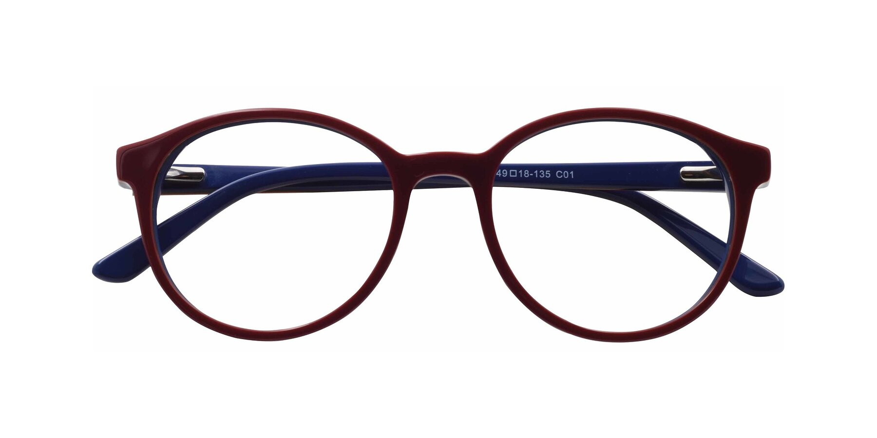 Folded Front of 6195 in Wine with Clear Eyeglass Lenses
