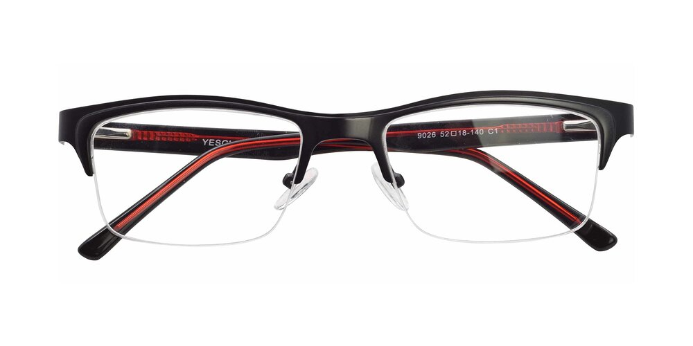 Black-Gun Browline Metal Rectangle Semi-Rimless Eyeglasses