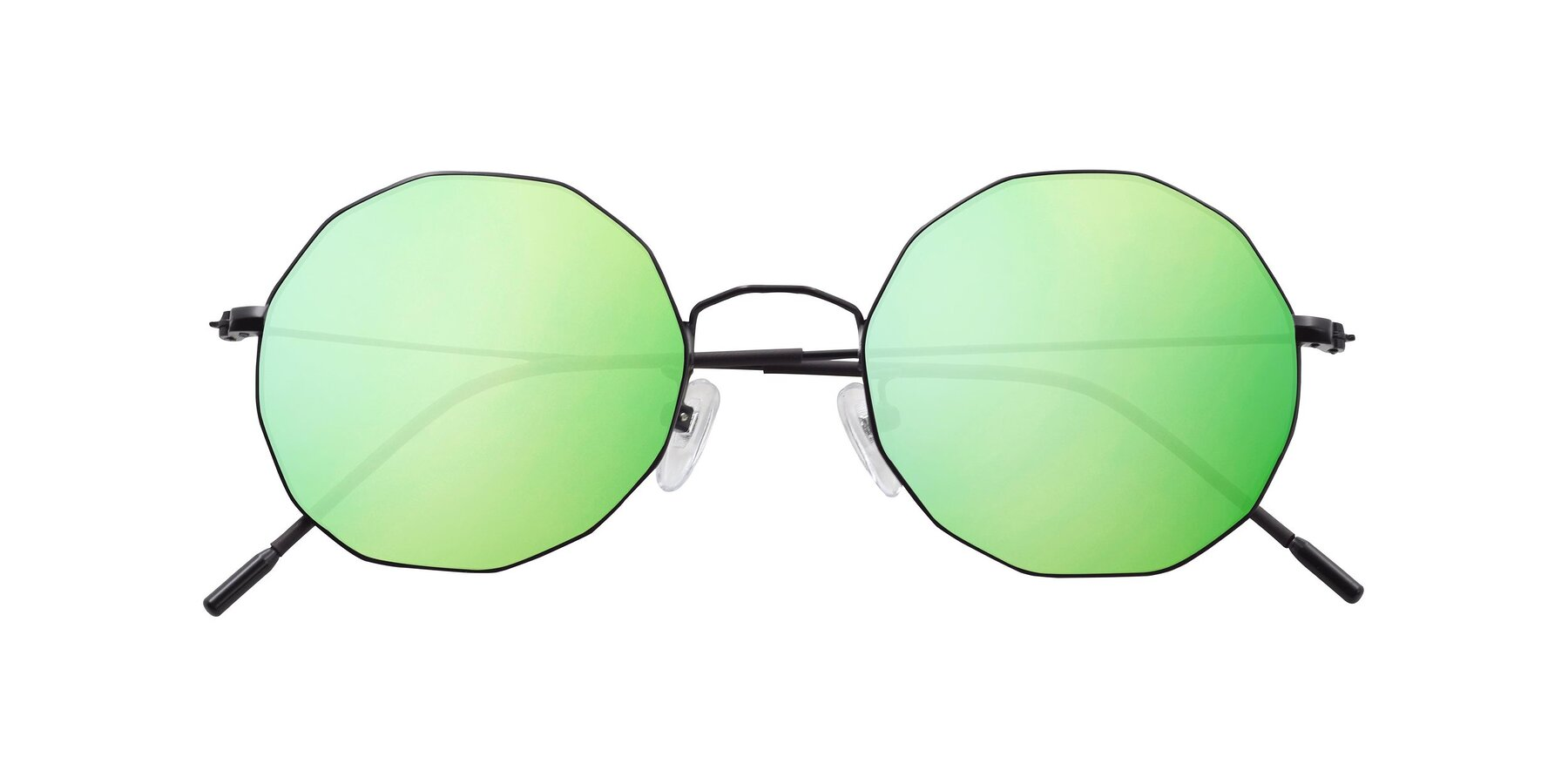 Folded Front of Spyder in Black with Green Mirrored Lenses