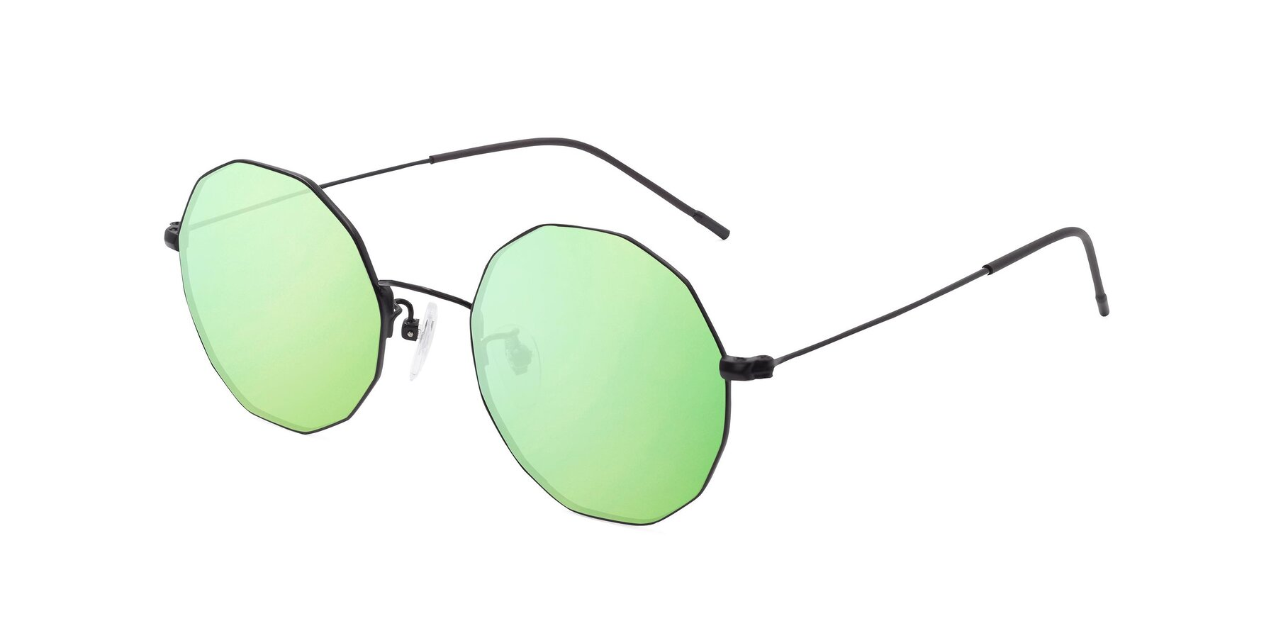 Angle of Spyder in Black with Green Mirrored Lenses