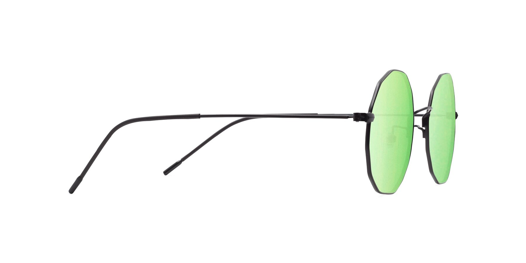 Side of Spyder in Black with Green Mirrored Lenses