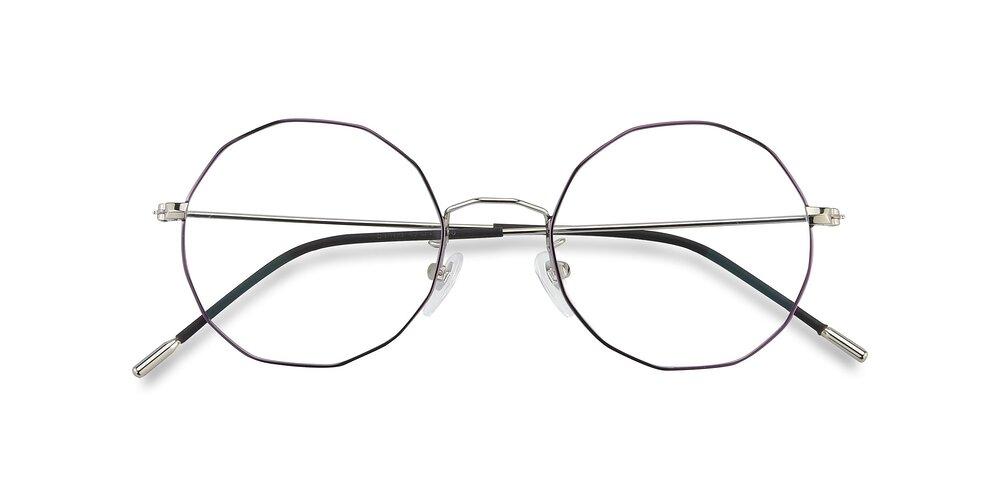 Silver- Purple Hipster Thin Metal Geometric Eyeglasses