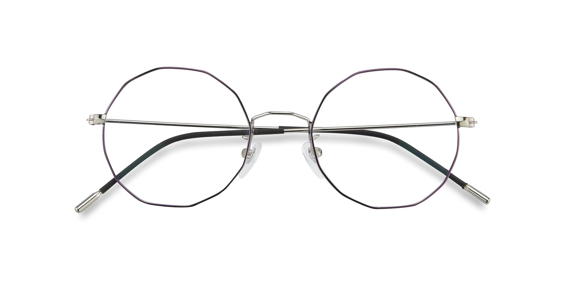 Folded Front of Spyder in Silver- Purple with Clear Eyeglass Lenses