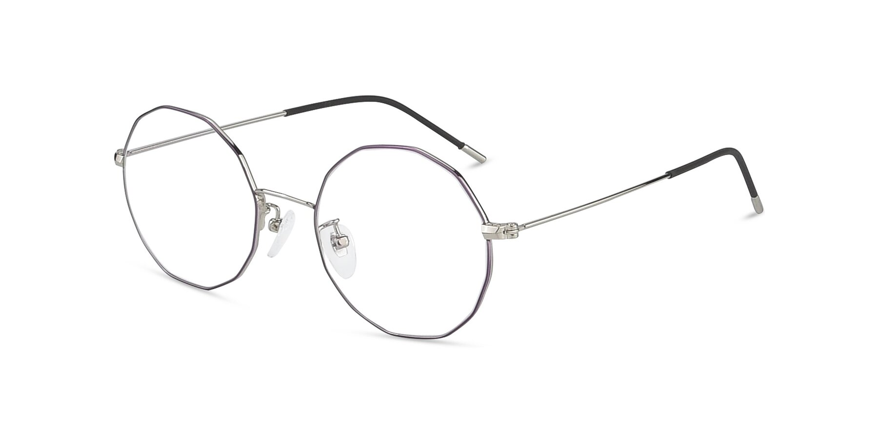 Angle of Spyder in Silver- Purple with Clear Eyeglass Lenses