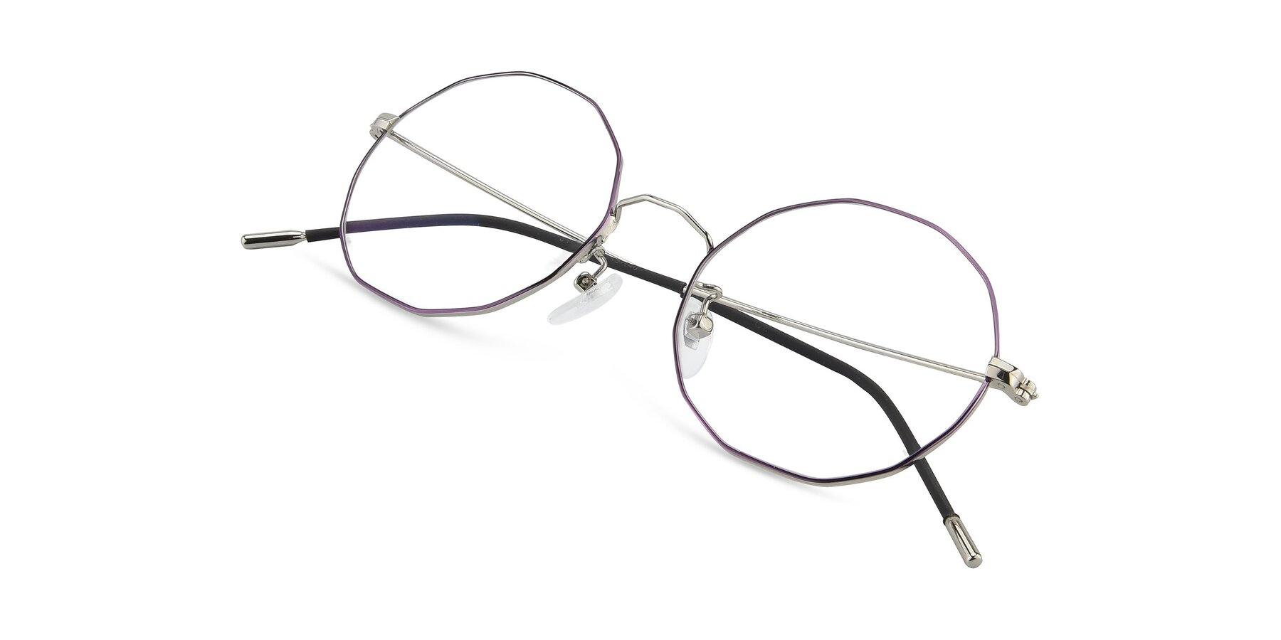 View of Spyder in Silver- Purple with Clear Eyeglass Lenses