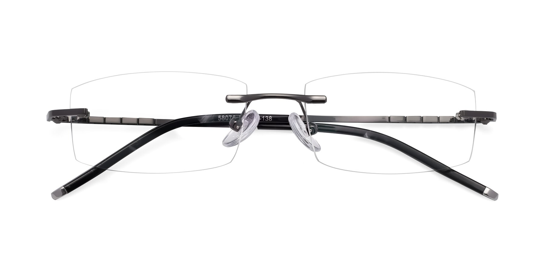 Folded Front of 58076 in Gunmetal with Clear Blue Light Blocking Lenses