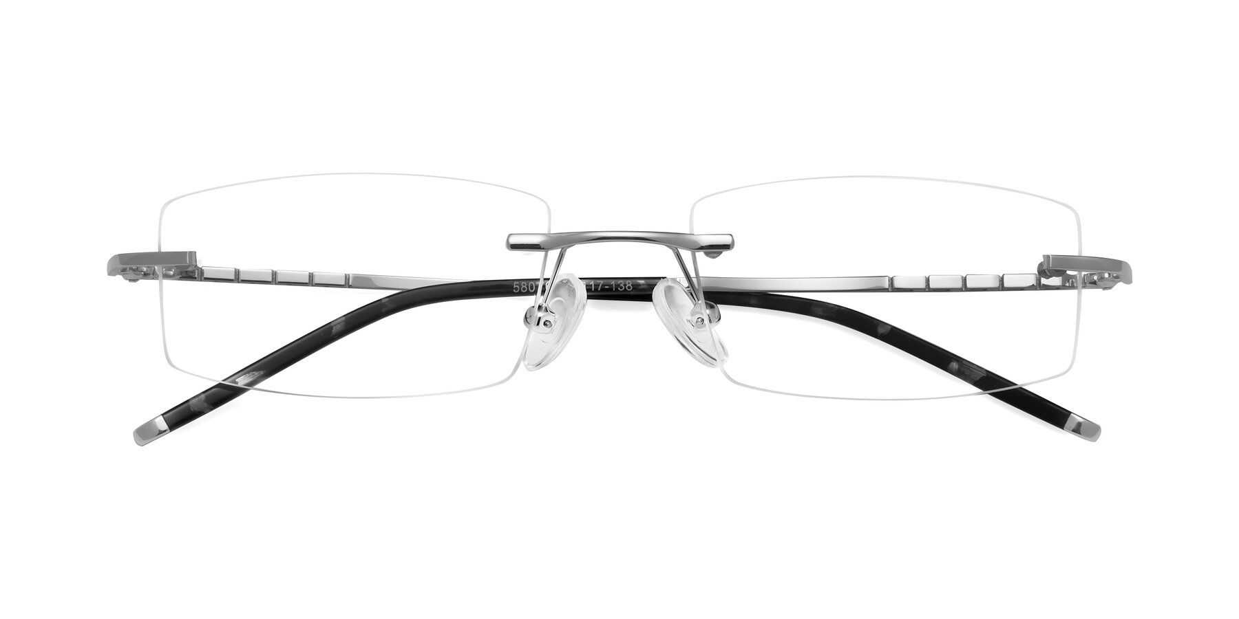 Folded Front of 58076 in Silver with Clear Eyeglass Lenses