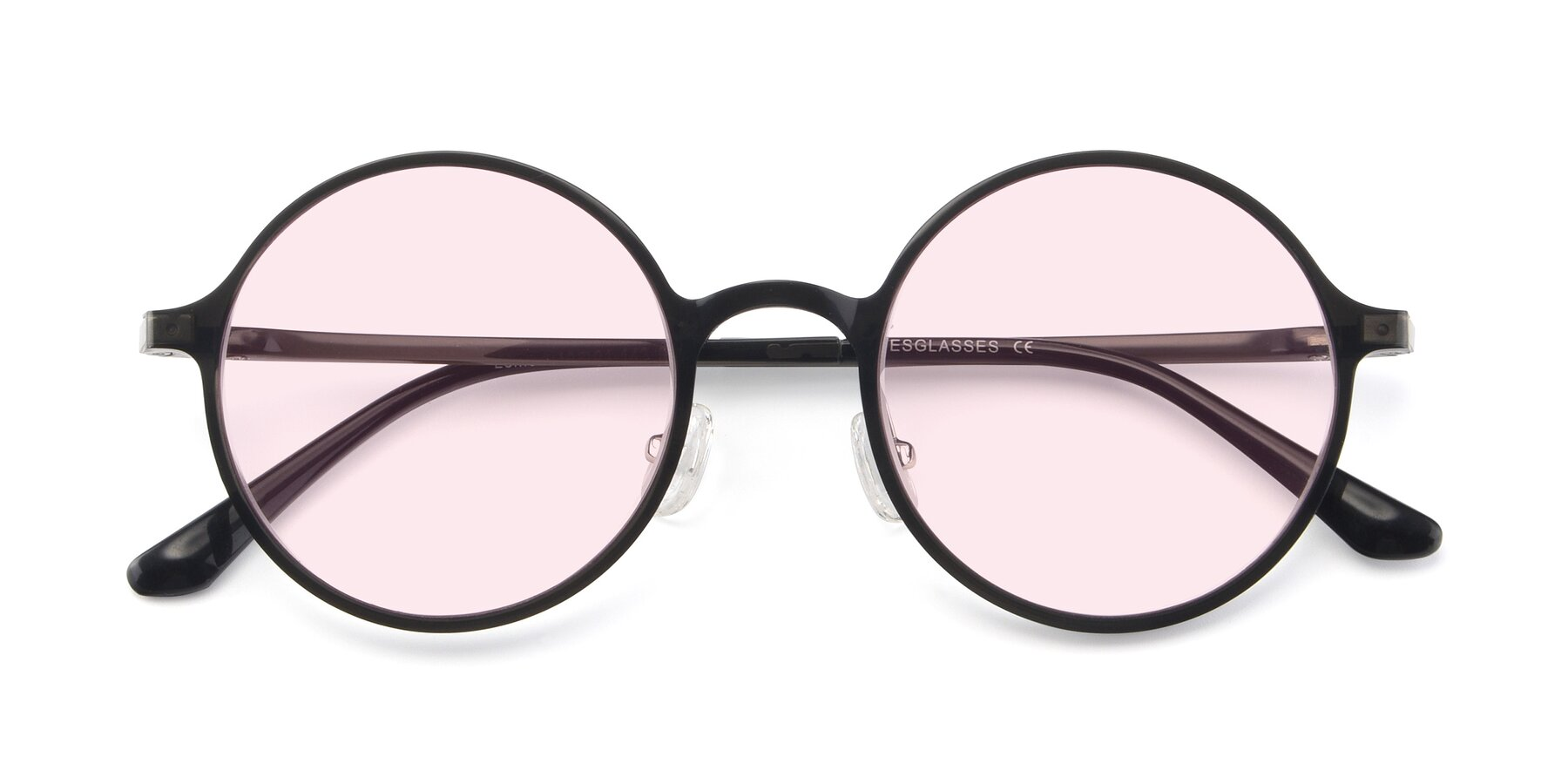 Folded Front of Lemon in Transparent Gray with Light Pink Tinted Lenses