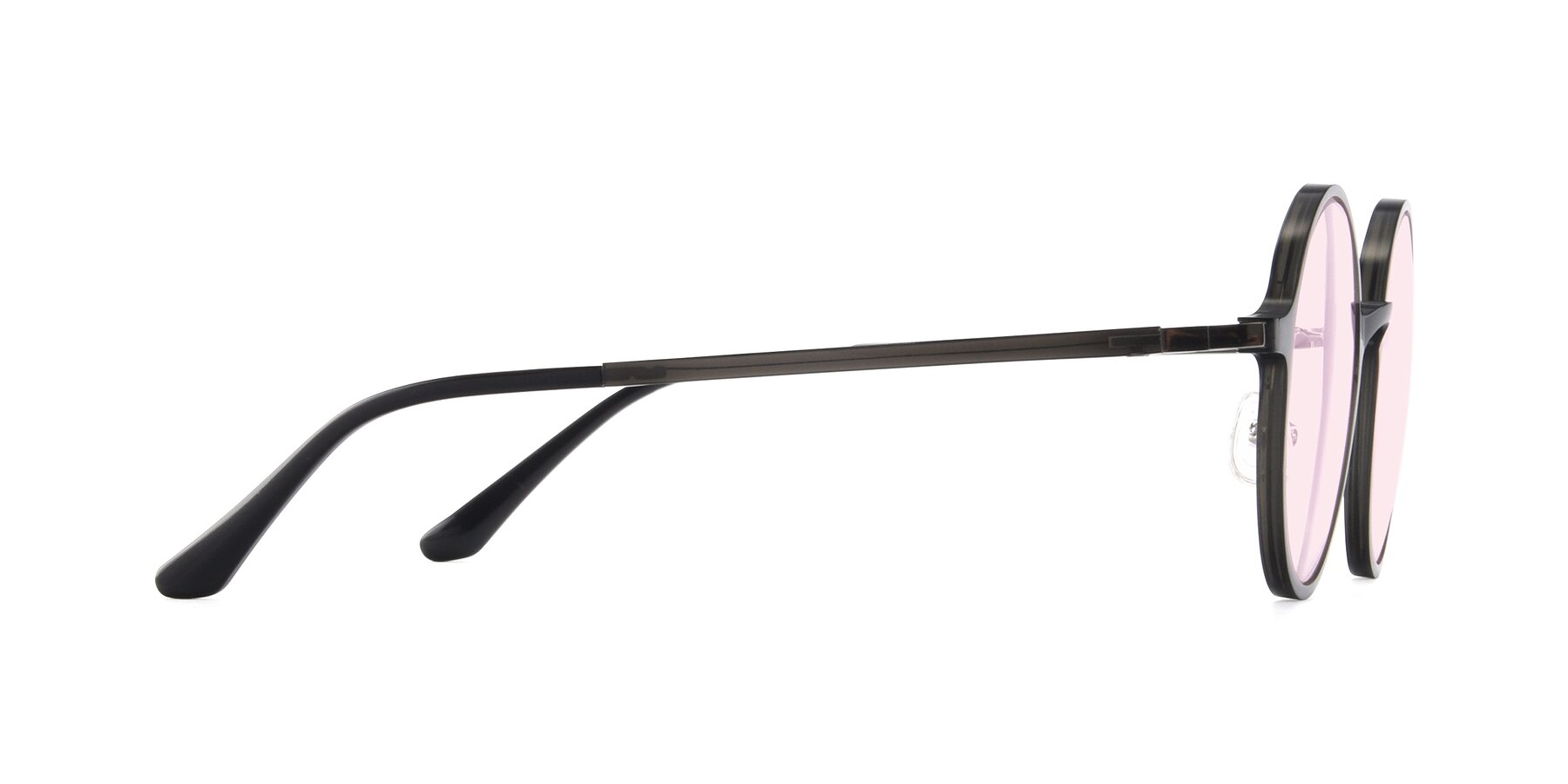 Side of Lemon in Transparent Gray with Light Pink Tinted Lenses