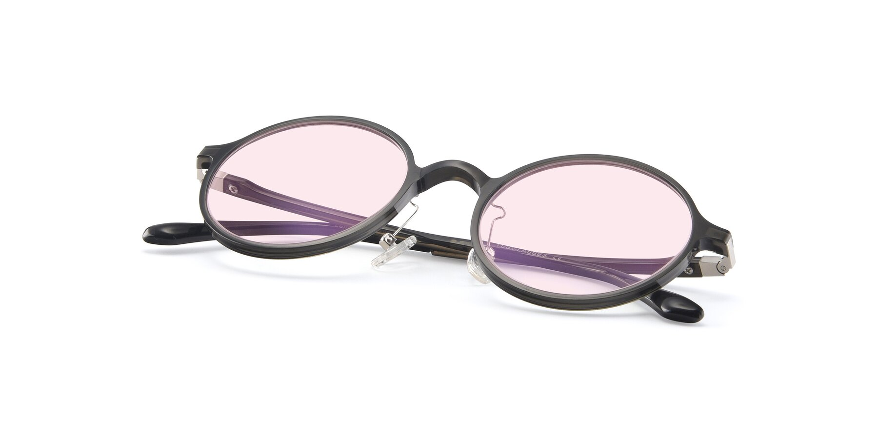 View of Lemon in Transparent Gray with Light Pink Tinted Lenses