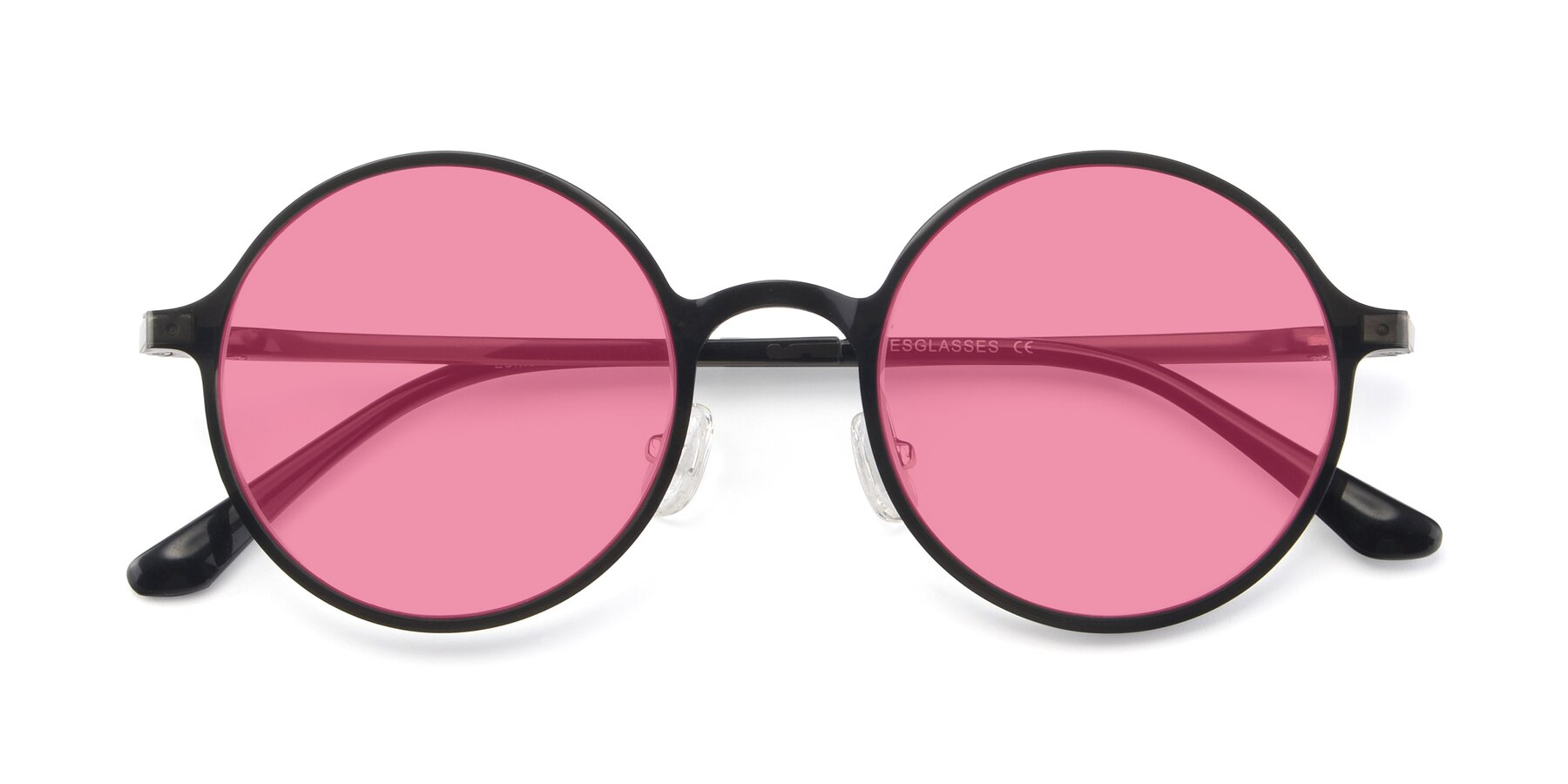 Folded Front of Lemon in Transparent Gray with Pink Tinted Lenses