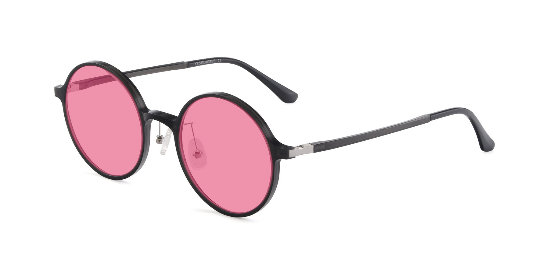 Angle of Lemon in Transparent Gray with Pink Tinted Lenses