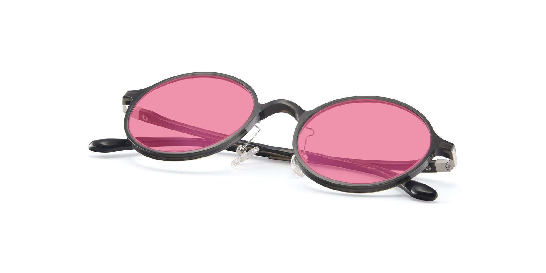 View of Lemon in Transparent Gray with Pink Tinted Lenses