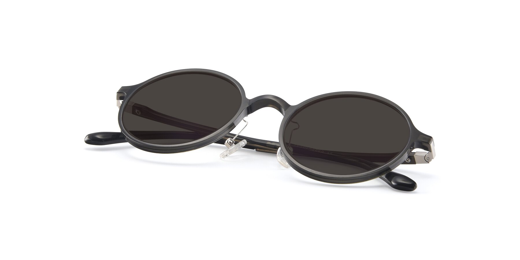 View of Lemon in Transparent Gray with Gray Tinted Lenses