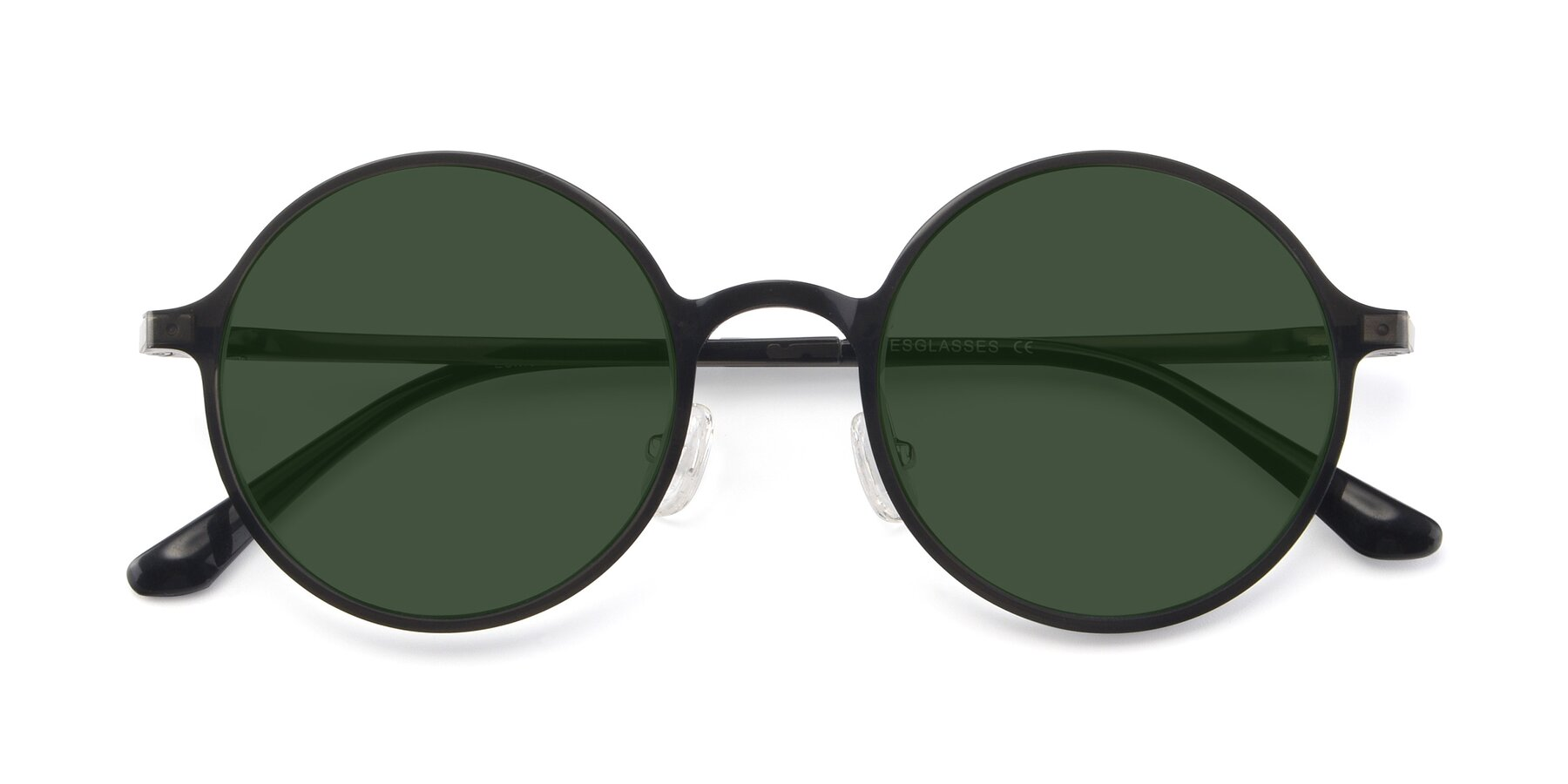 Folded Front of Lemon in Transparent Gray with Green Tinted Lenses