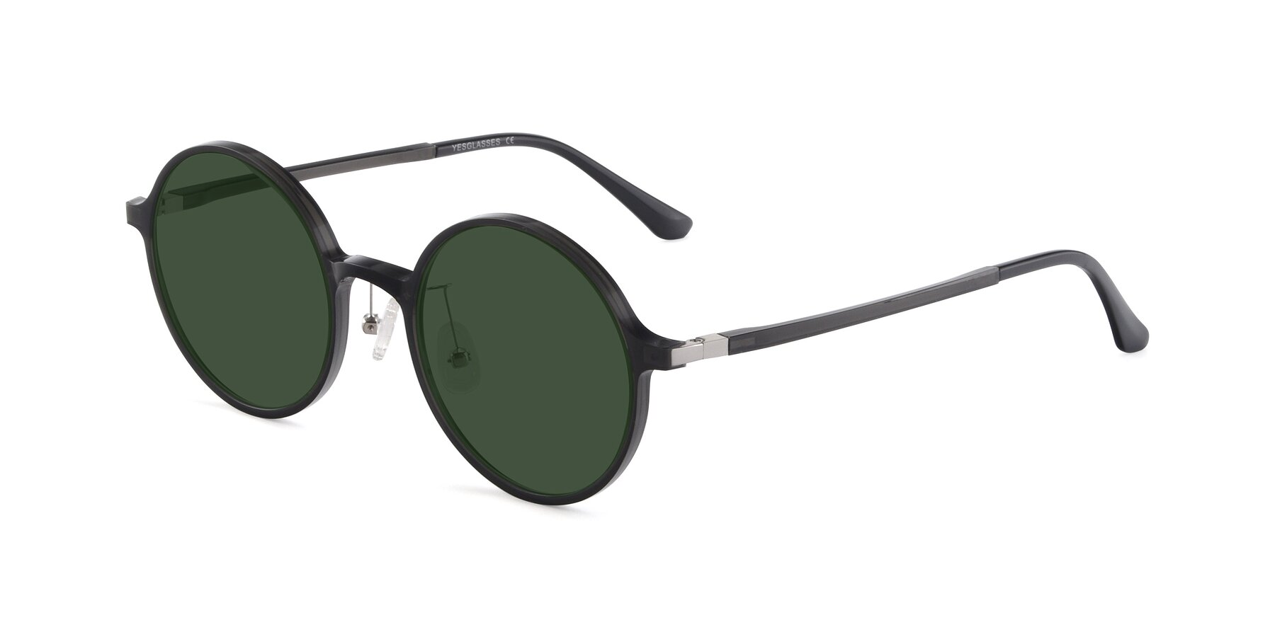 Angle of Lemon in Transparent Gray with Green Tinted Lenses