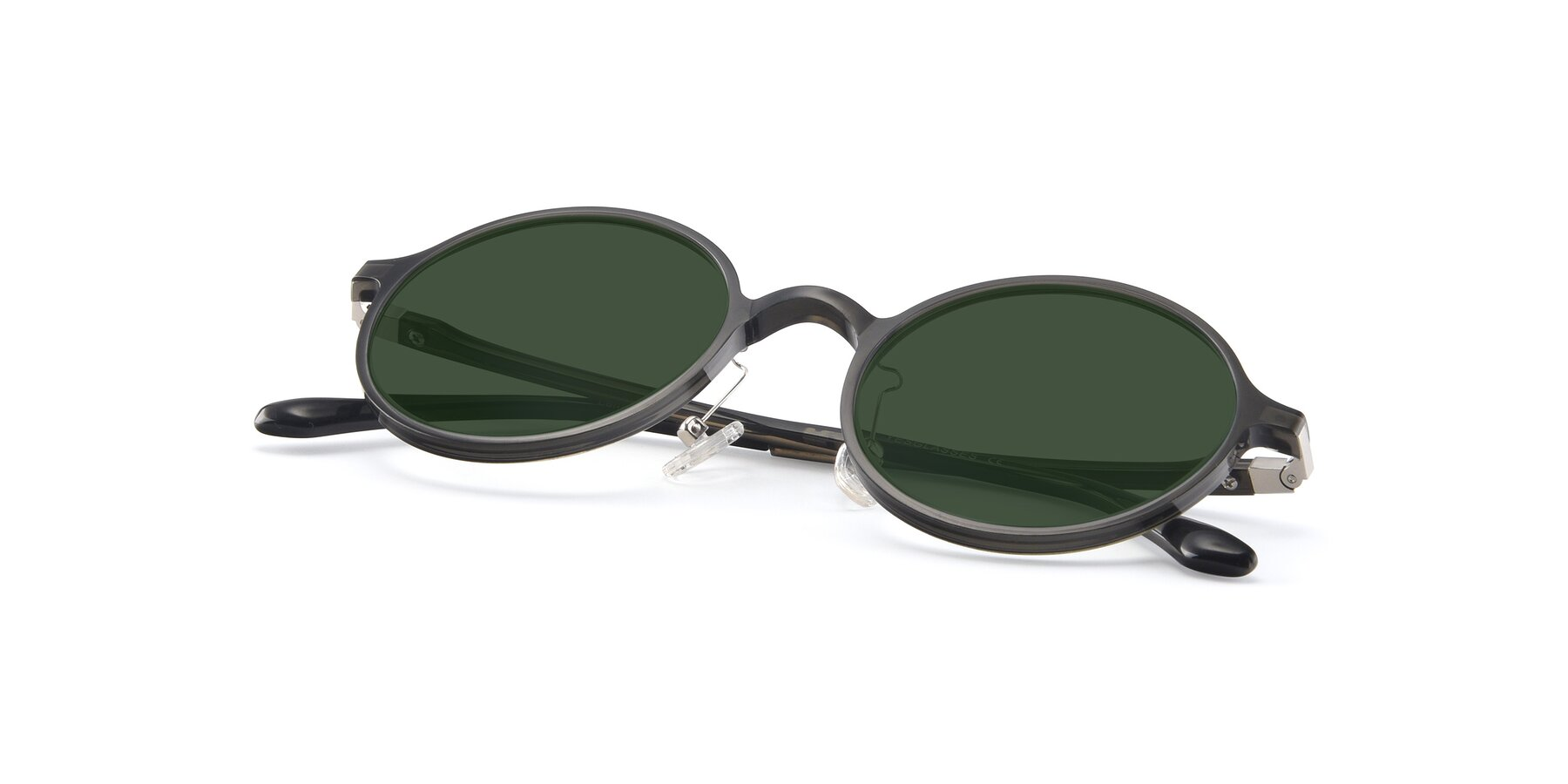 View of Lemon in Transparent Gray with Green Tinted Lenses