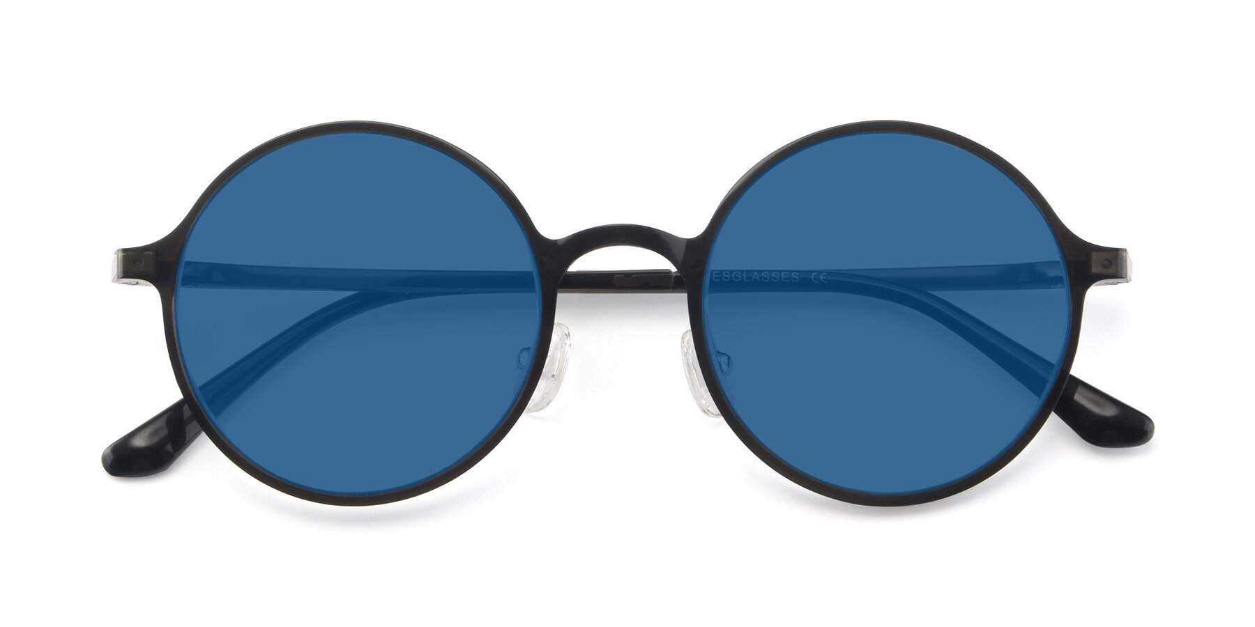 Folded Front of Lemon in Transparent Gray with Blue Tinted Lenses