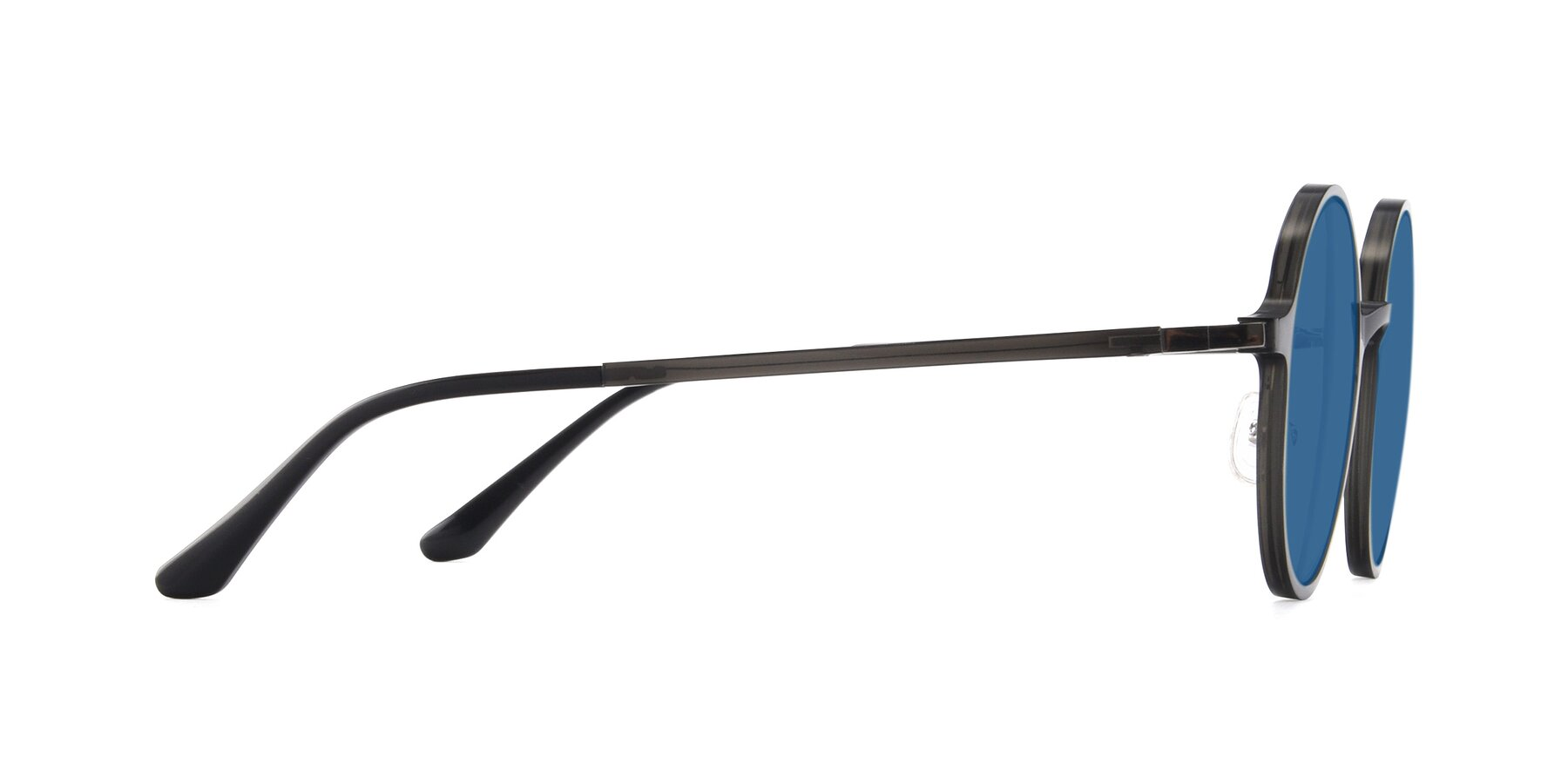 Side of Lemon in Transparent Gray with Blue Tinted Lenses