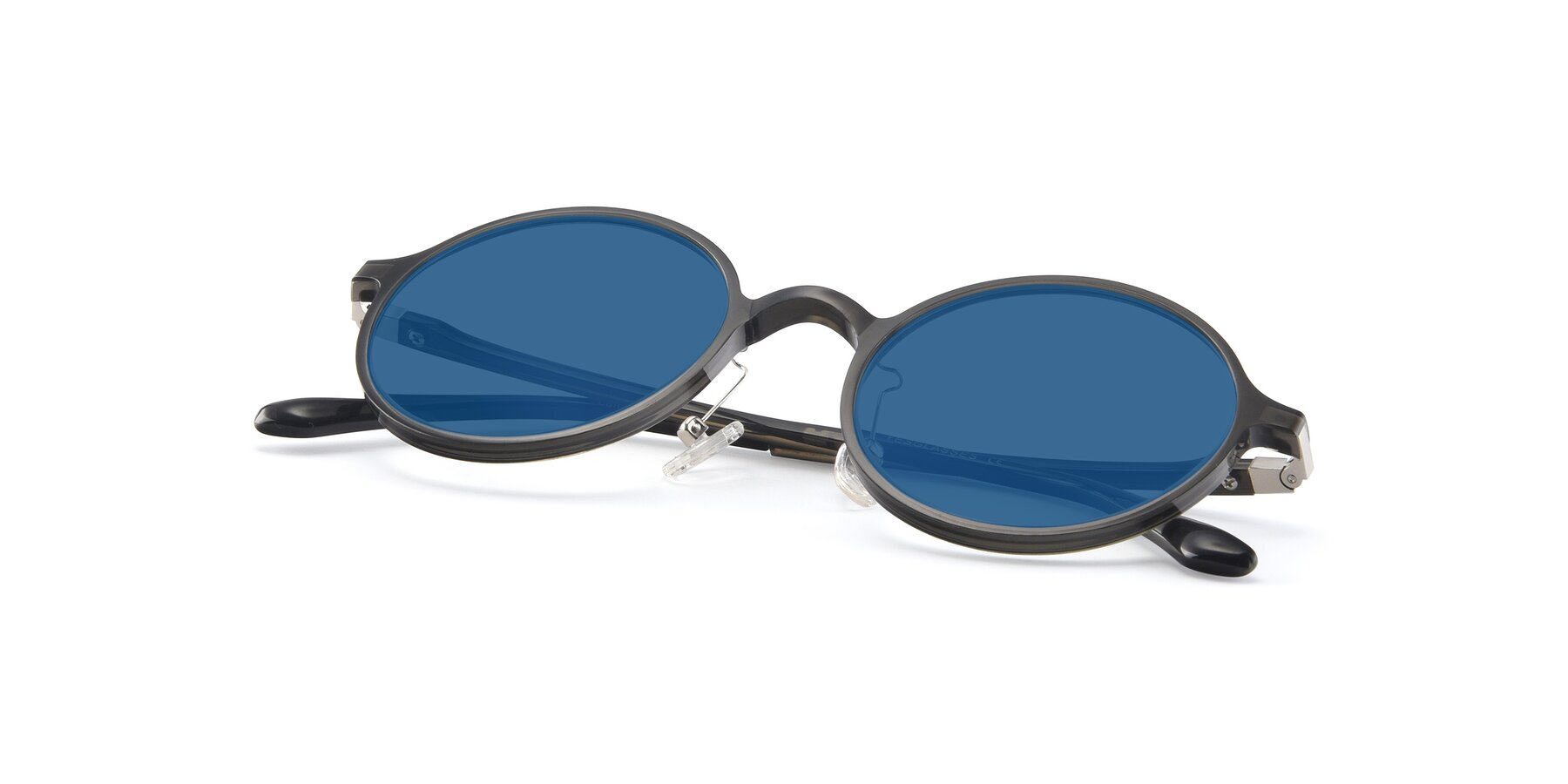 View of Lemon in Transparent Gray with Blue Tinted Lenses
