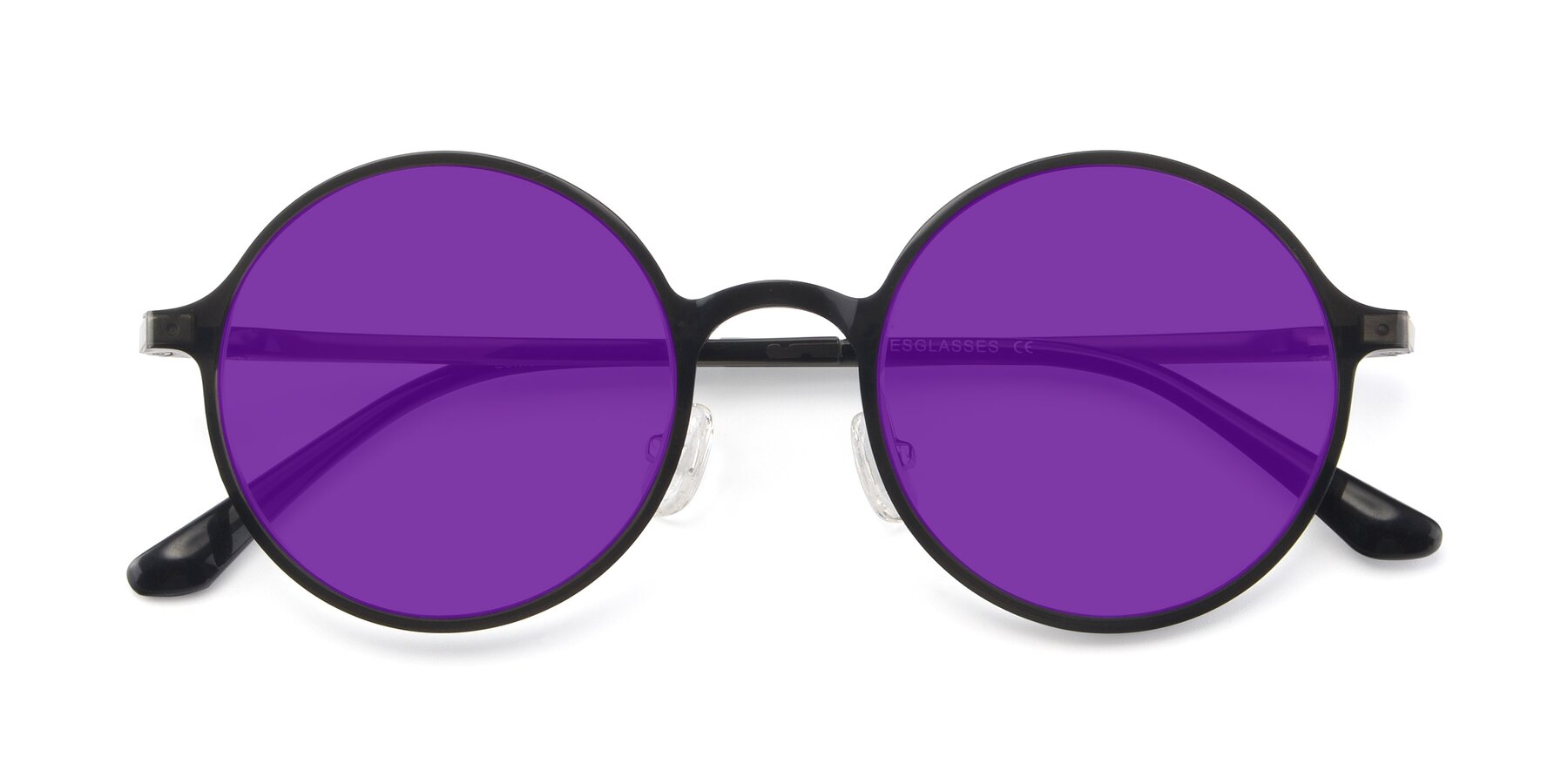 Folded Front of Lemon in Transparent Gray with Purple Tinted Lenses