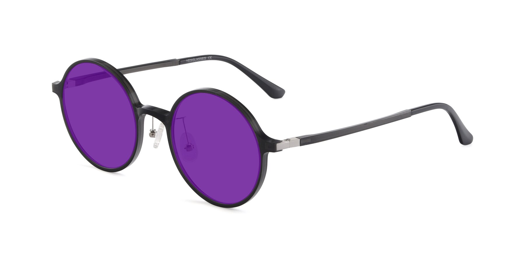 Angle of Lemon in Transparent Gray with Purple Tinted Lenses