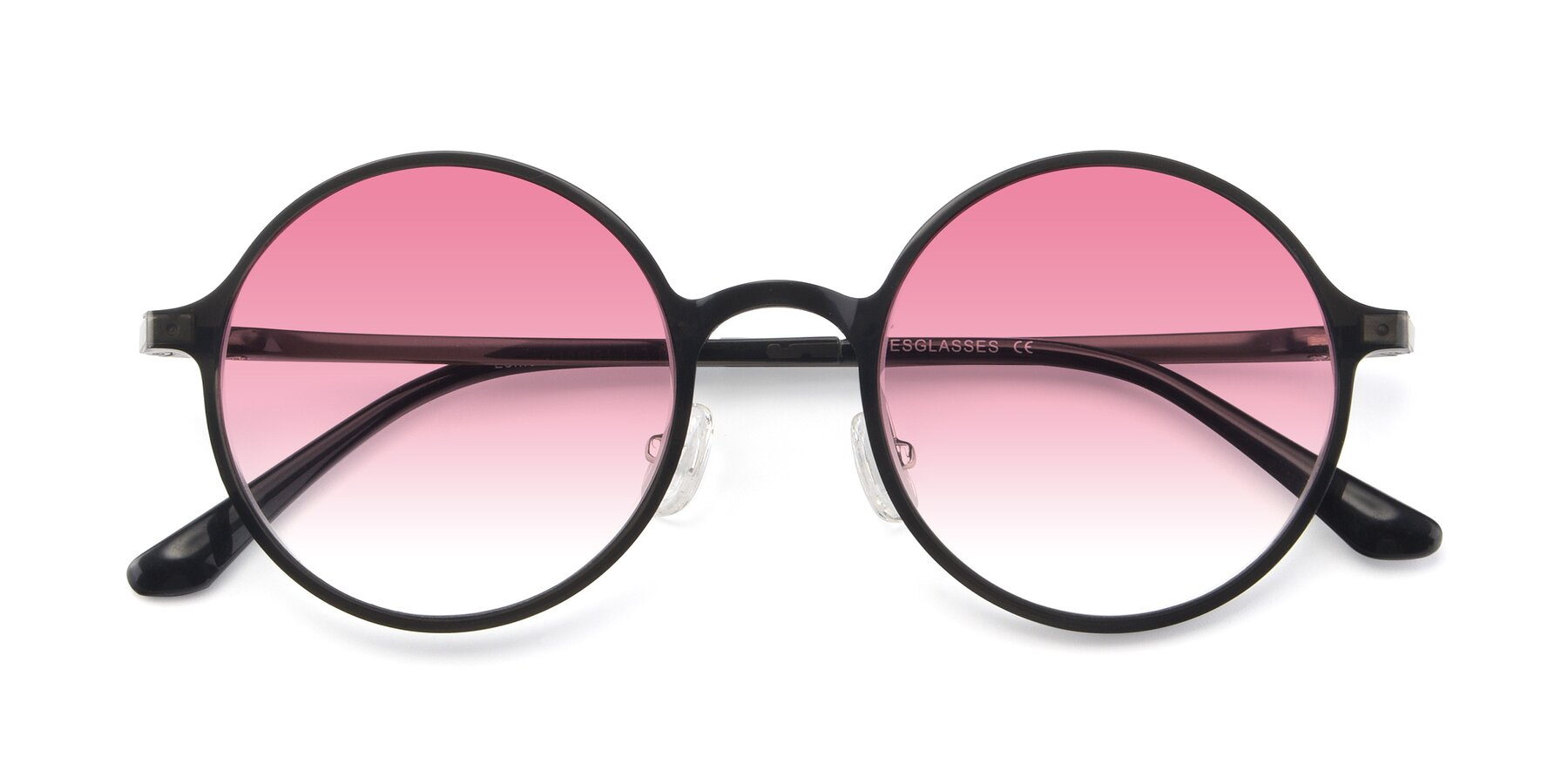 Folded Front of Lemon in Transparent Gray with Pink Gradient Lenses