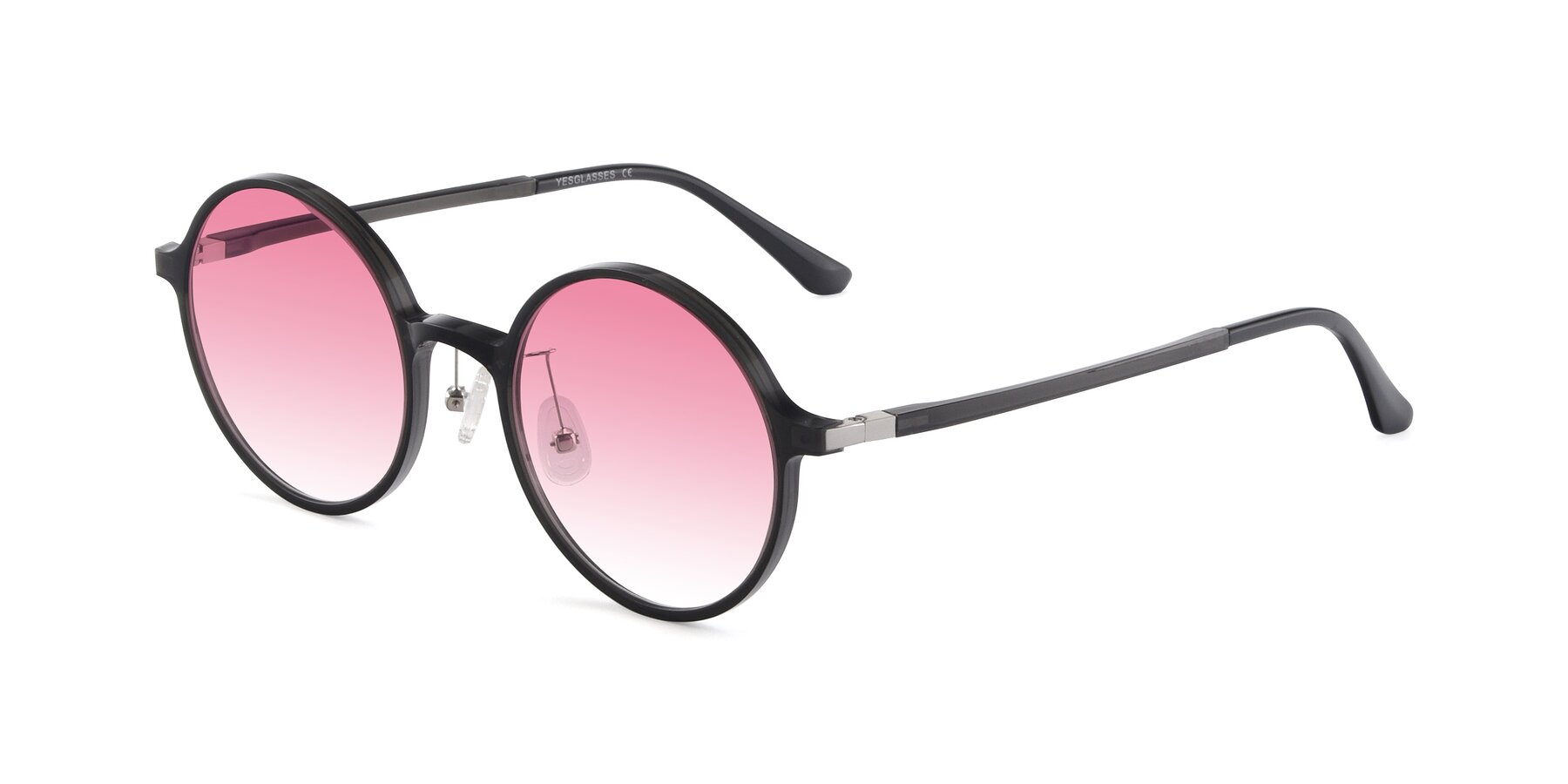Angle of Lemon in Transparent Gray with Pink Gradient Lenses