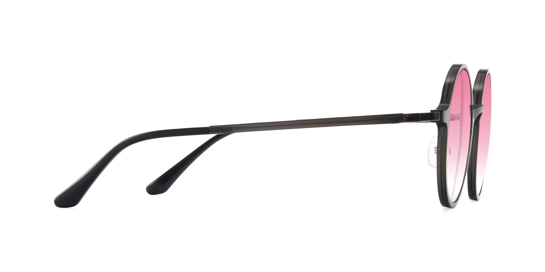 Side of Lemon in Transparent Gray with Pink Gradient Lenses
