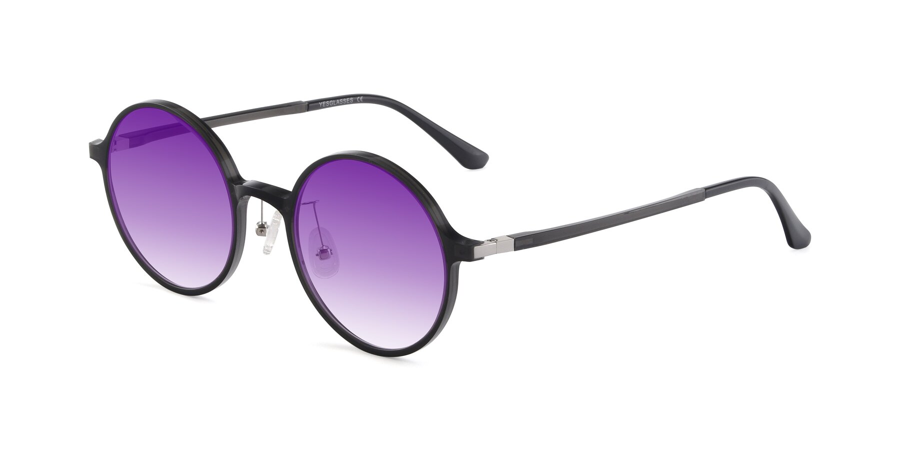 Angle of Lemon in Transparent Gray with Purple Gradient Lenses