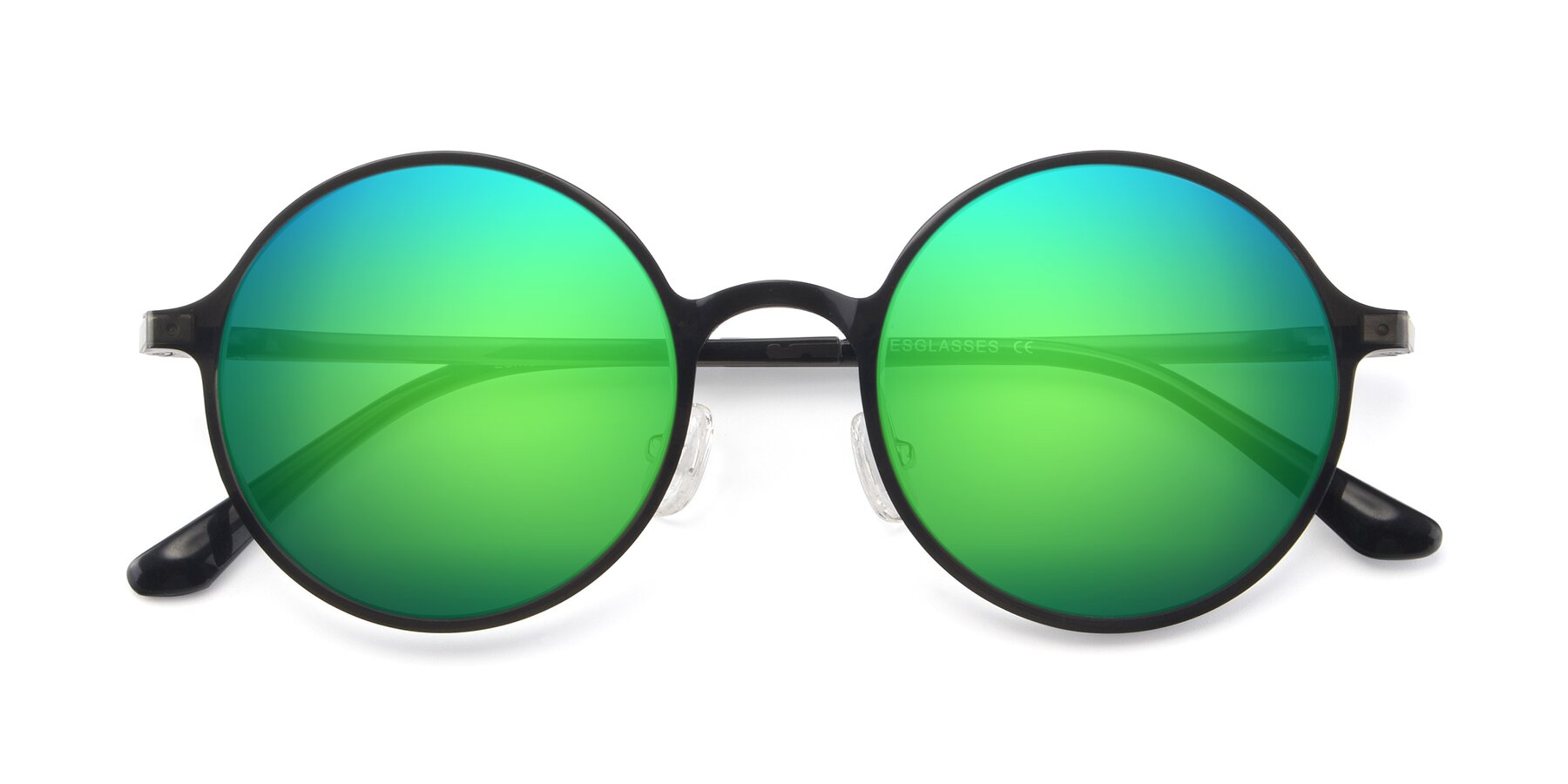 Folded Front of Lemon in Transparent Gray with Green Mirrored Lenses