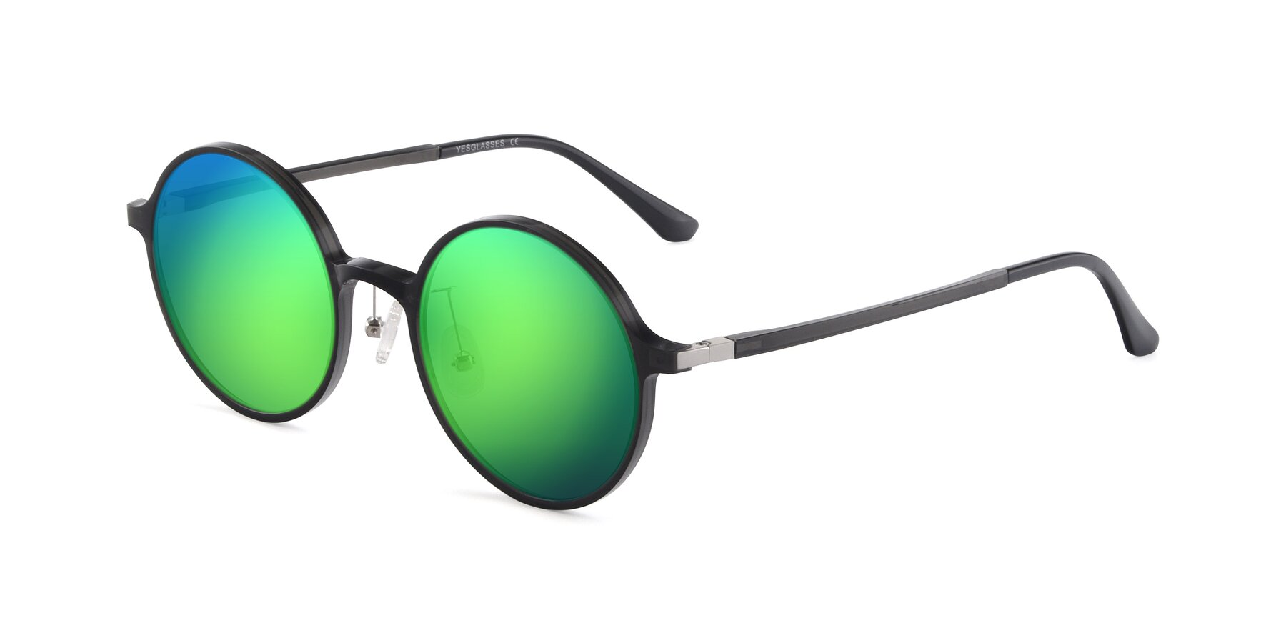 Angle of Lemon in Transparent Gray with Green Mirrored Lenses