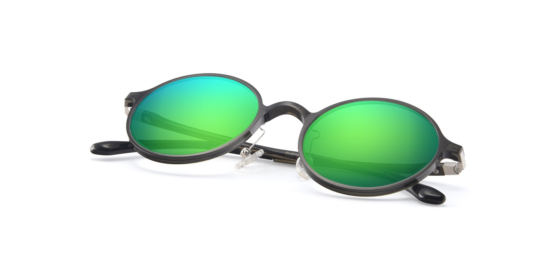 View of Lemon in Transparent Gray with Green Mirrored Lenses