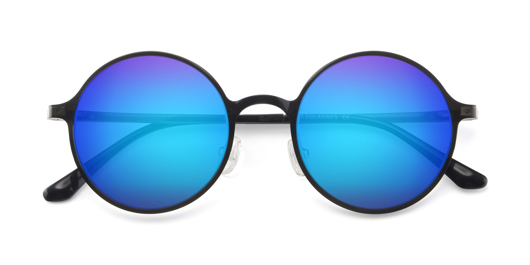 Folded Front of Lemon in Transparent Gray with Blue Mirrored Lenses