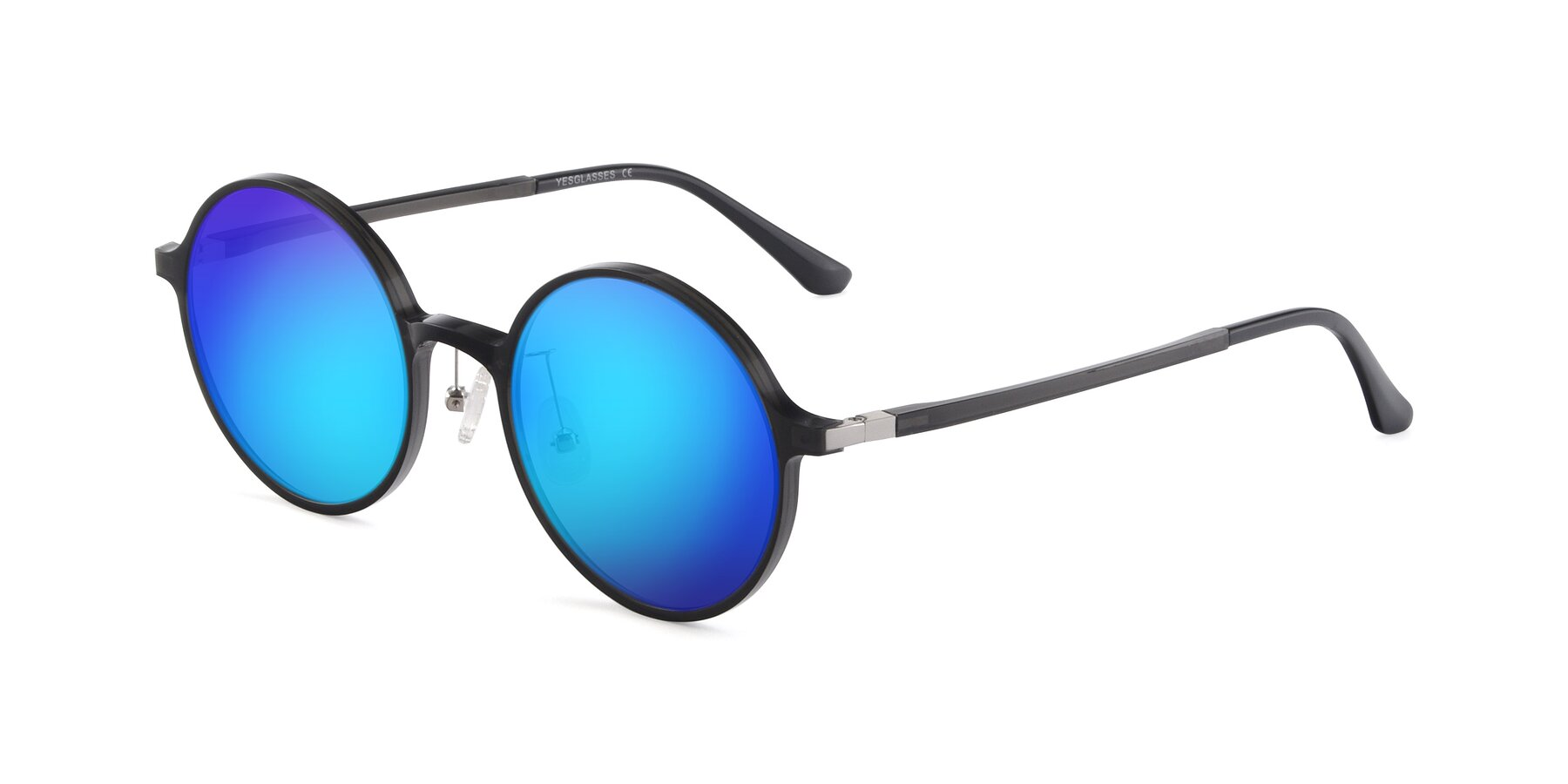 Angle of Lemon in Transparent Gray with Blue Mirrored Lenses