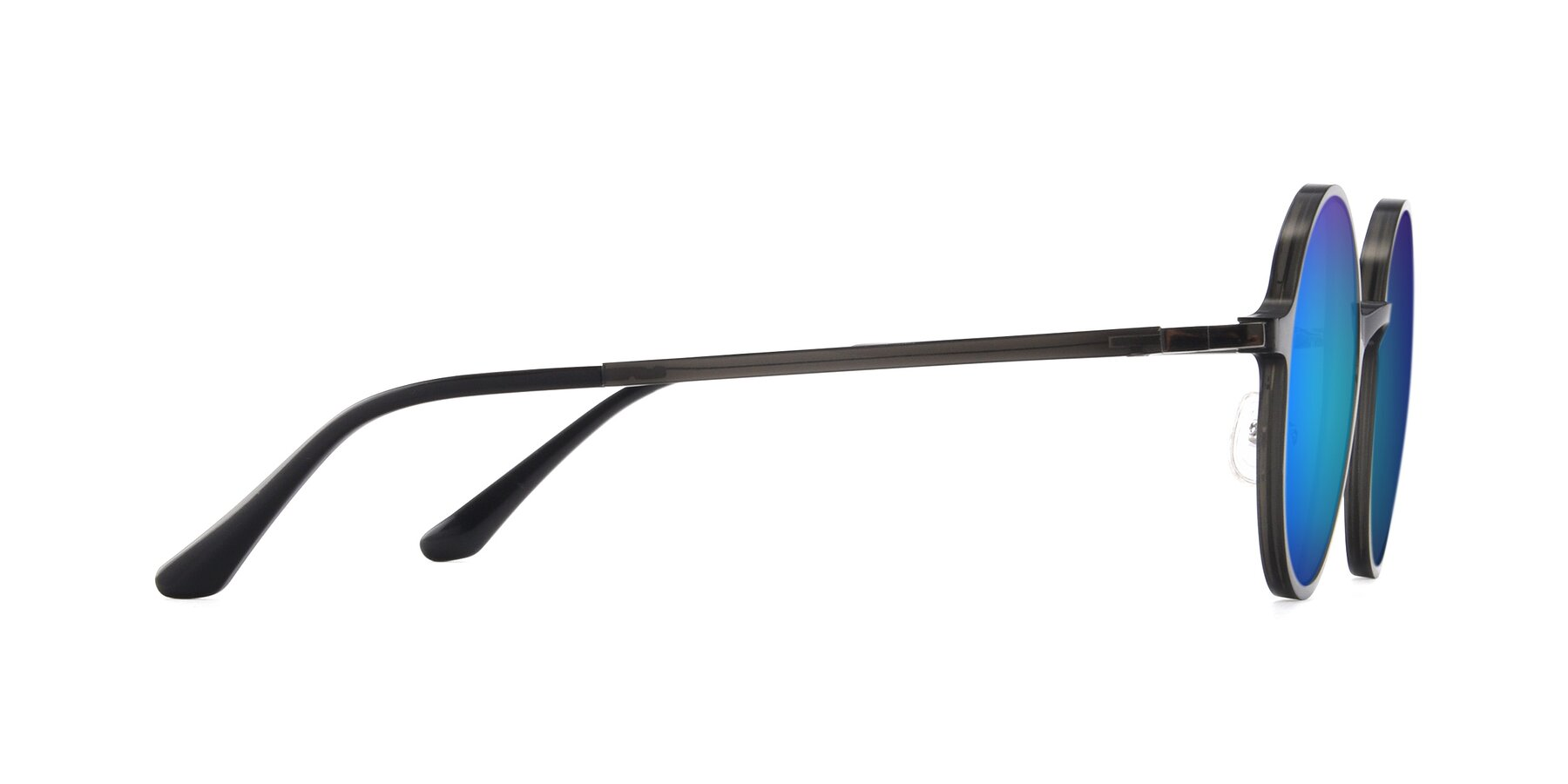 Side of Lemon in Transparent Gray with Blue Mirrored Lenses