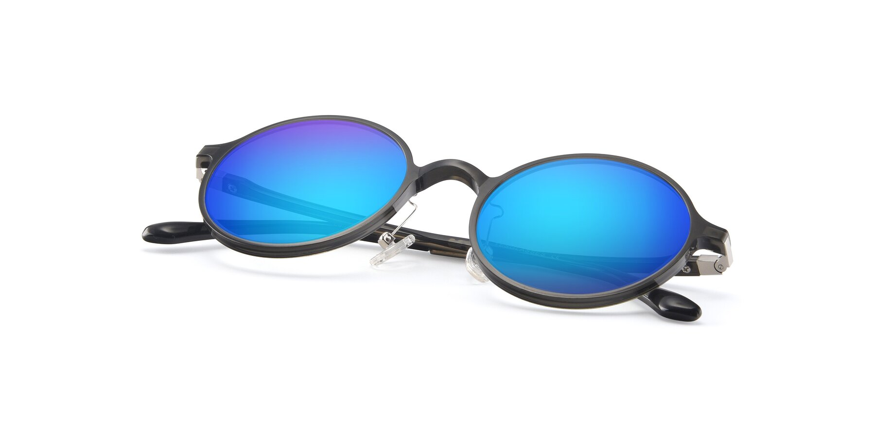 View of Lemon in Transparent Gray with Blue Mirrored Lenses