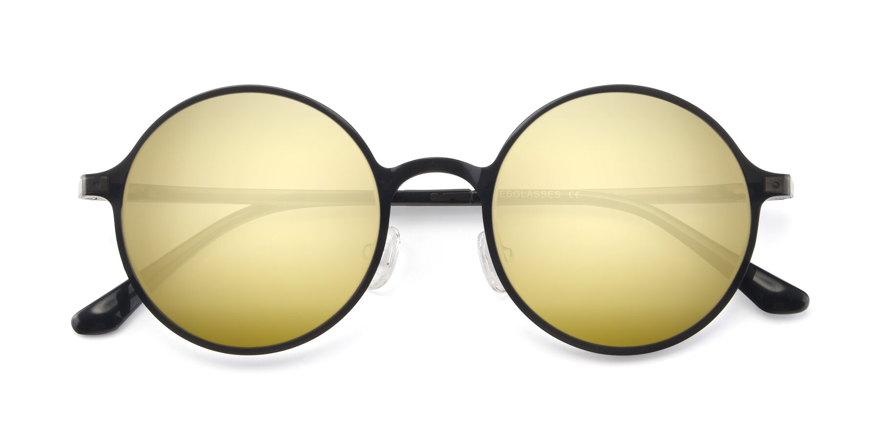 Folded Front of Lemon in Transparent Gray with Gold Mirrored Lenses
