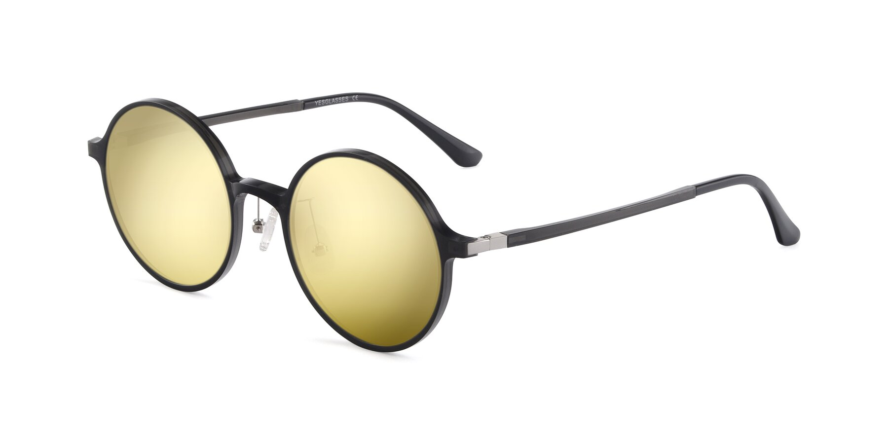 Angle of Lemon in Transparent Gray with Gold Mirrored Lenses