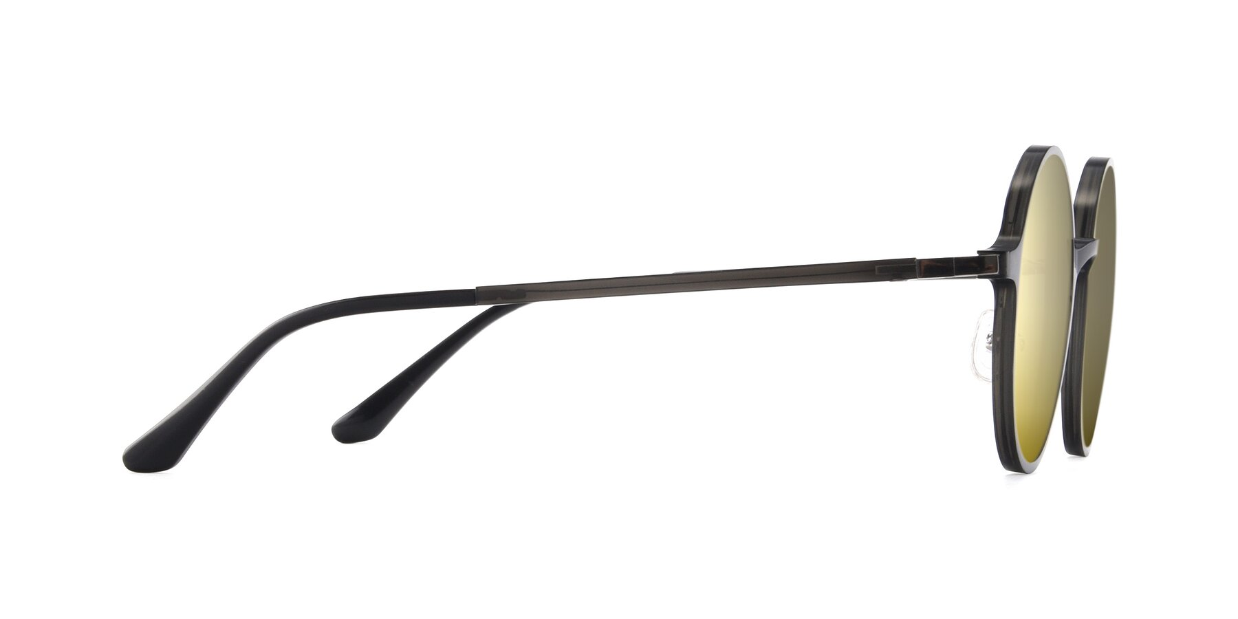 Side of Lemon in Transparent Gray with Gold Mirrored Lenses