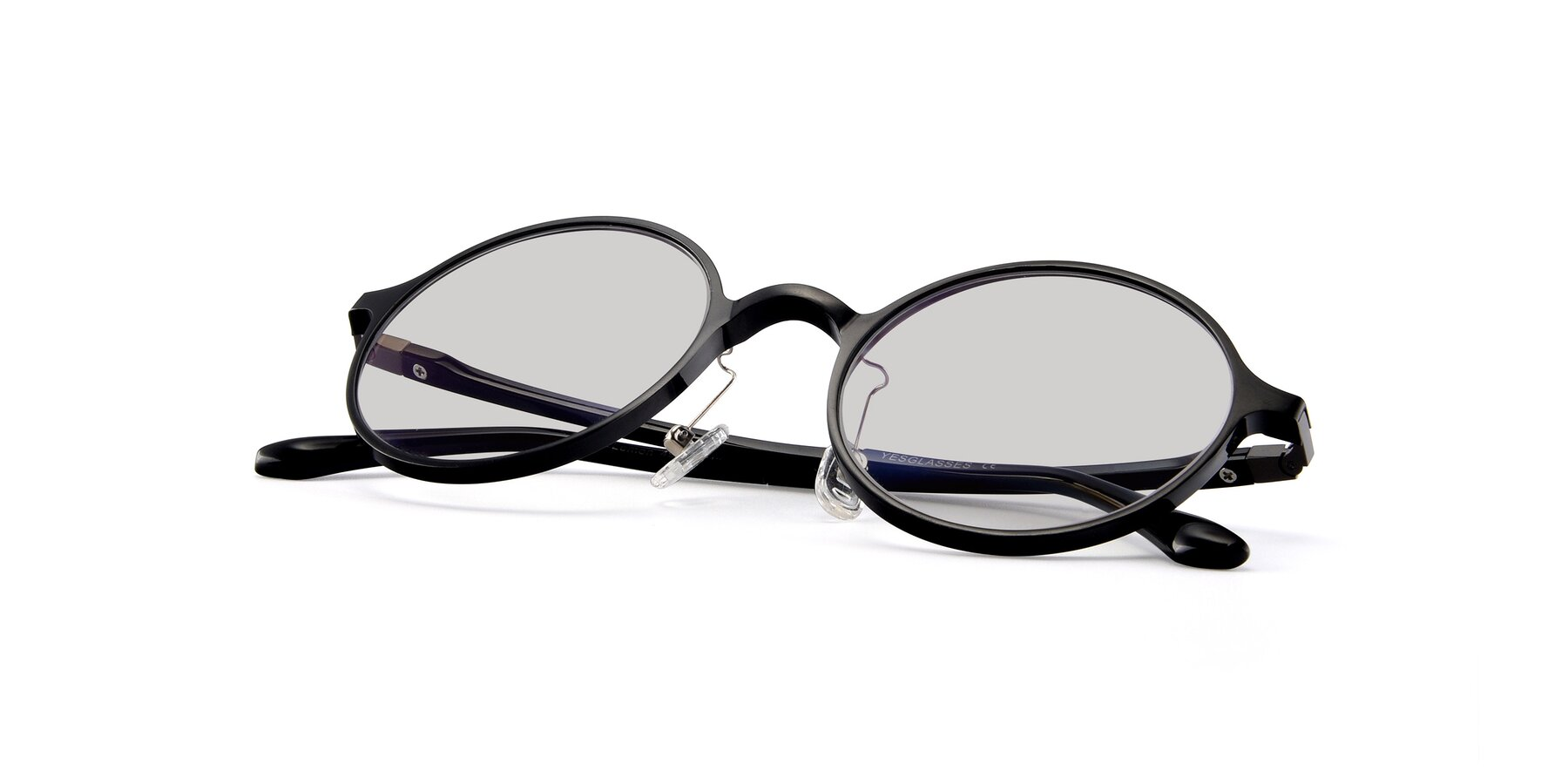 View of Lemon in Black with Light Gray Tinted Lenses