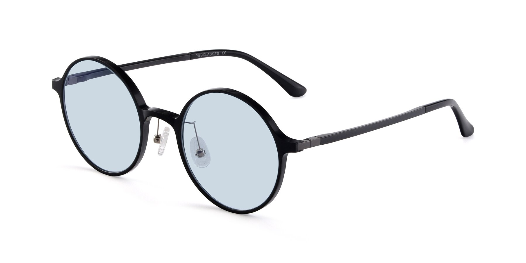 Angle of Lemon in Black with Light Blue Tinted Lenses