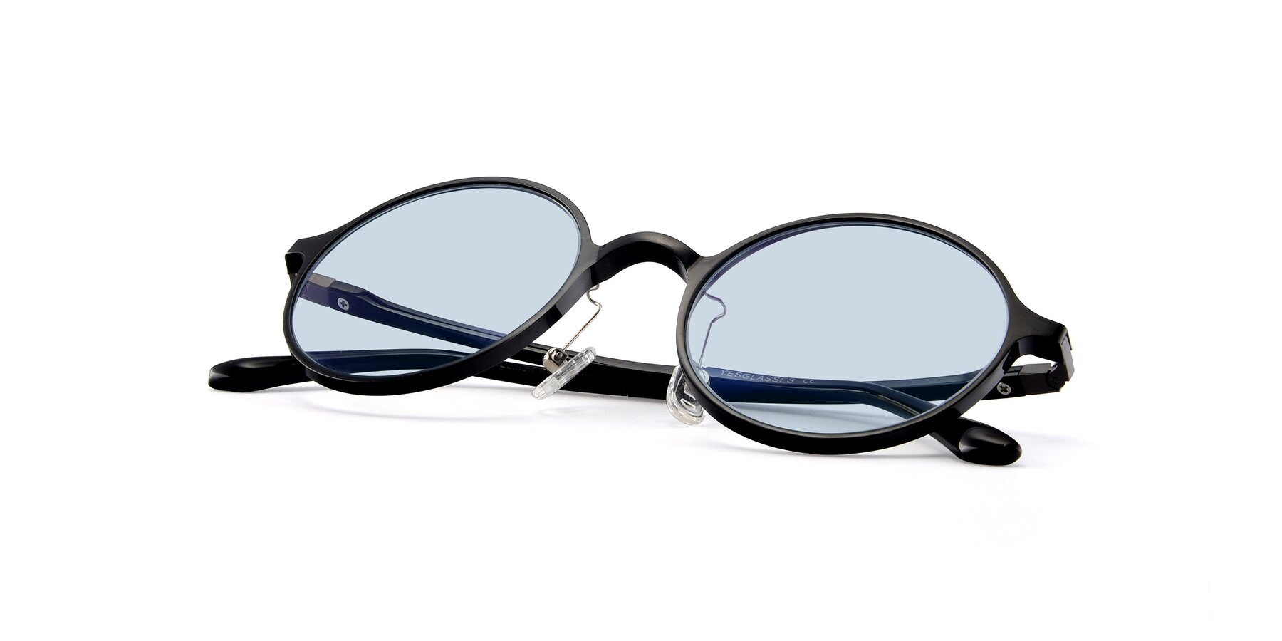 View of Lemon in Black with Light Blue Tinted Lenses