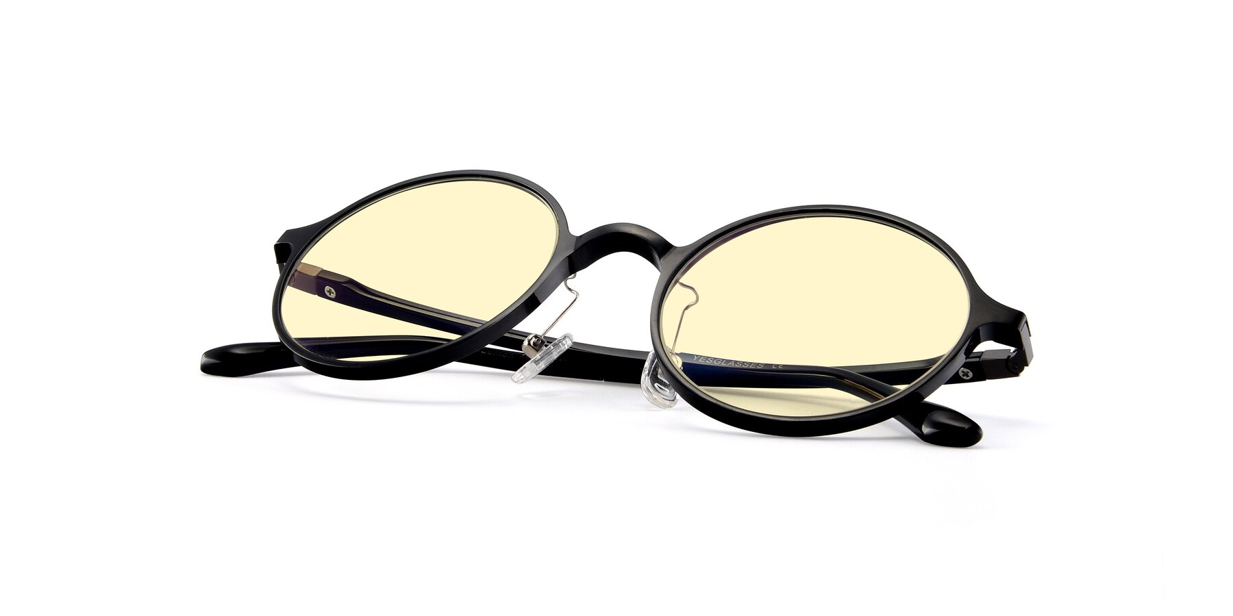 View of Lemon in Black with Light Yellow Tinted Lenses