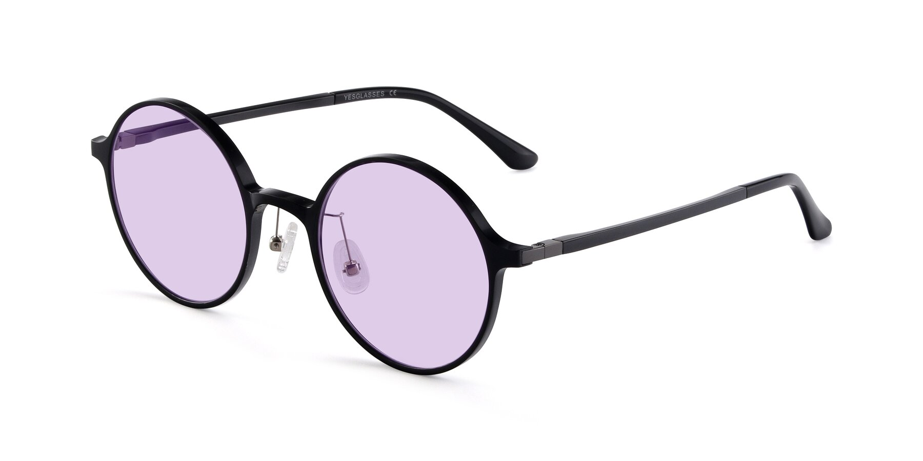 Angle of Lemon in Black with Light Purple Tinted Lenses
