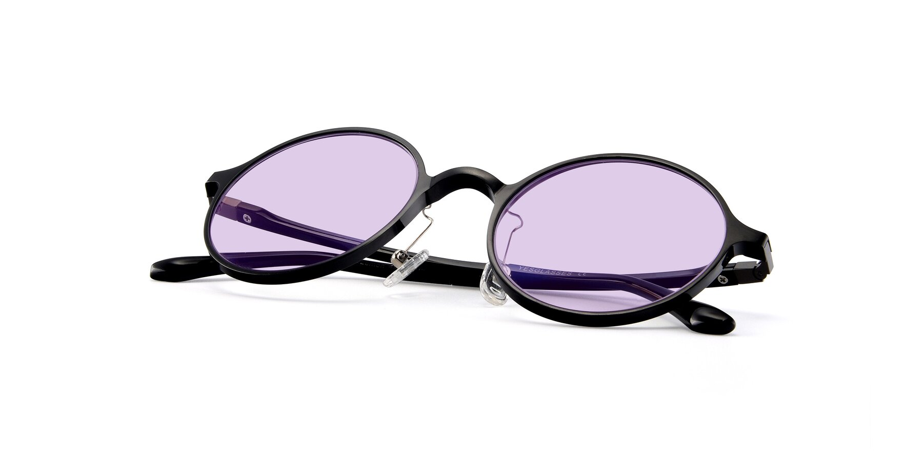 View of Lemon in Black with Light Purple Tinted Lenses
