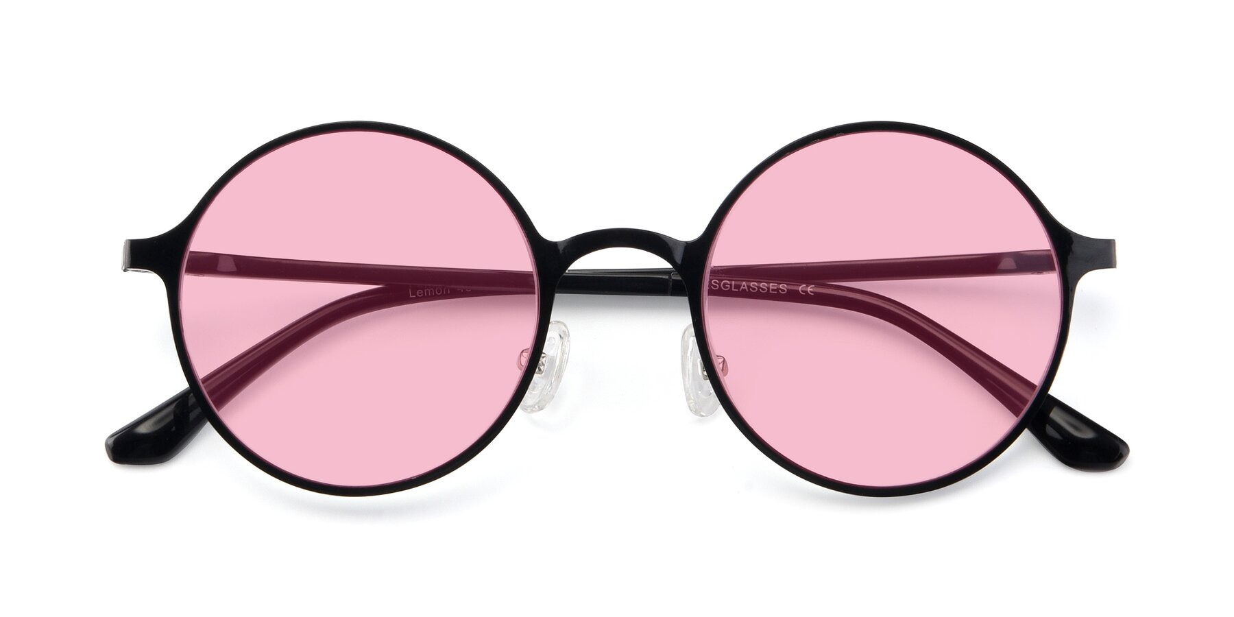 Folded Front of Lemon in Black with Medium Pink Tinted Lenses