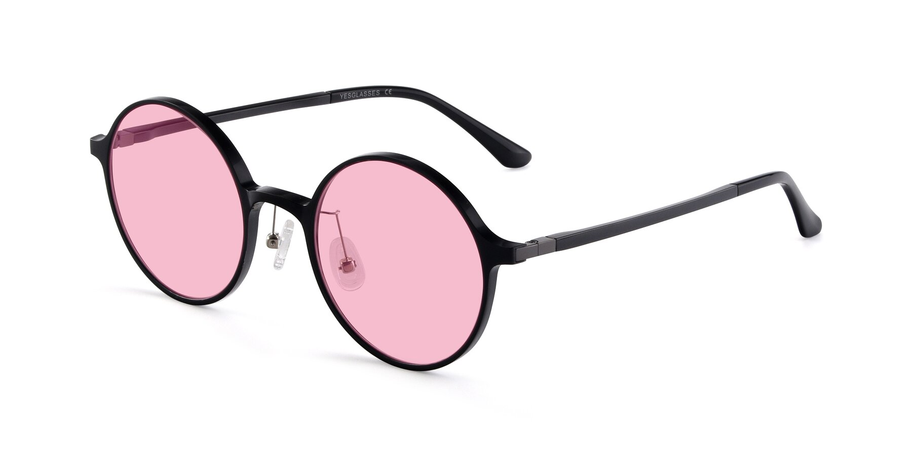 Angle of Lemon in Black with Medium Pink Tinted Lenses